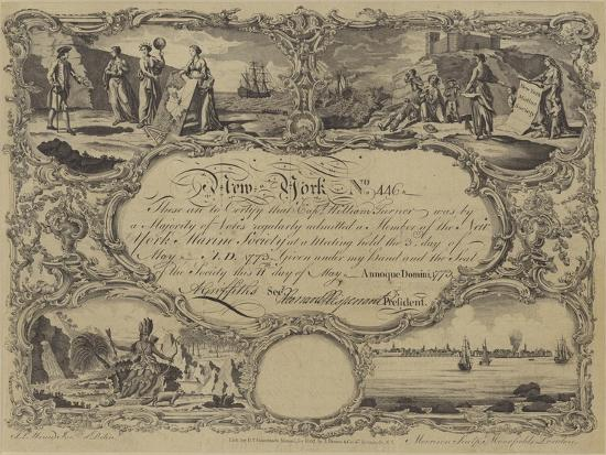 Membership Certificate of the New York Marine Society, 1773--Giclee Print
