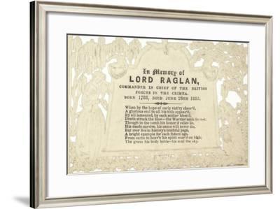 Memorial Card in Memory of Lord Raglan--Framed Giclee Print