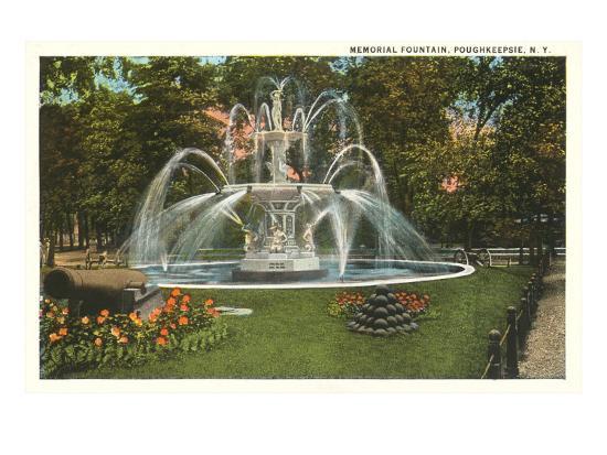 Memorial Fountain, Poughkeepsie, New York--Art Print