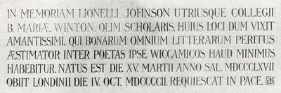 Memorial Plaque for Lionel Johnson, 1904--Mounted Giclee Print