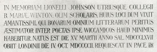 Memorial Plaque for Lionel Johnson, 1904--Giclee Print