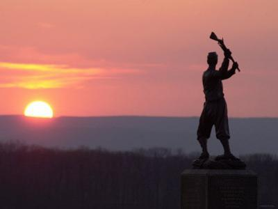 Memorial Statue of a Civil War Soldier on Cemetery Ridge on Gettysburg Battlefield