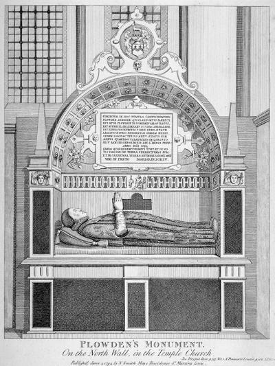 Memorial to Edmund Plowden, Treasurer of the Middle Temple, Temple Church, City of London, 1794--Giclee Print