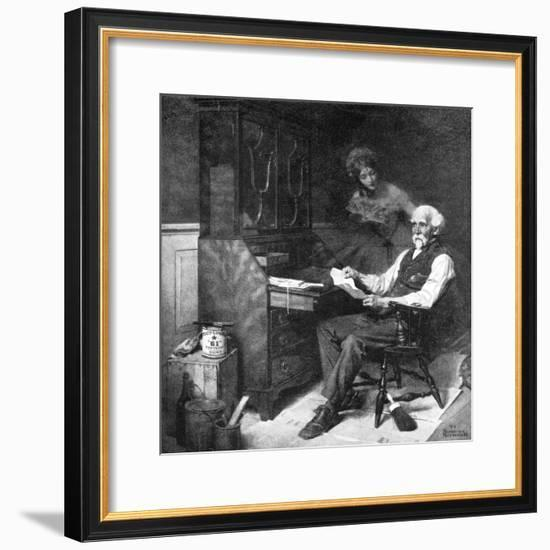 Memories (or Elderly Gentleman Reminded of a Past Love)-Norman Rockwell-Framed Premium Giclee Print