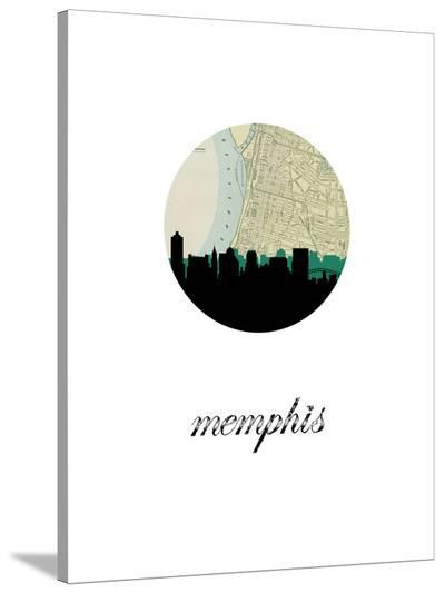 Memphis Map Skyline-Paperfinch 0-Stretched Canvas Print