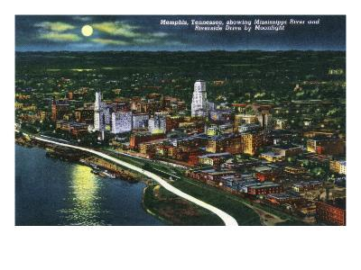 Memphis, Tennessee - Aerial Moonlit View of the City, Riverside Drive and Mississippi River, c.1944-Lantern Press-Art Print