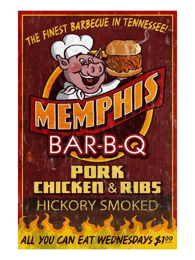 Memphis, Tennessee - Barbecue-Lantern Press-Art Print