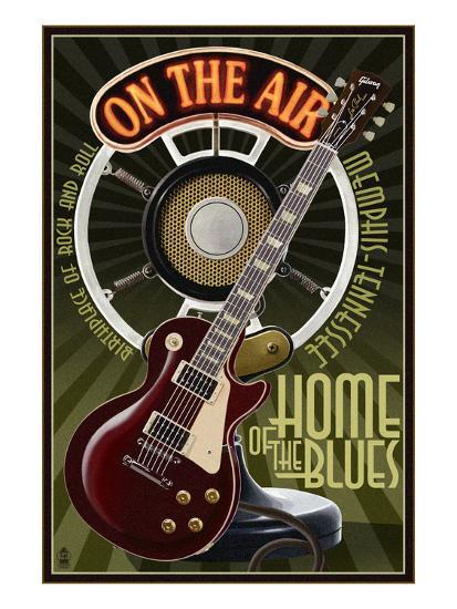 Memphis, Tennessee - Guitar and Microphone-Lantern Press-Art Print
