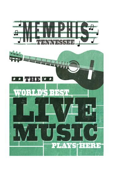 Memphis, Tennessee - Horizontal Guitar - Teal Screenprint-Lantern Press-Art Print
