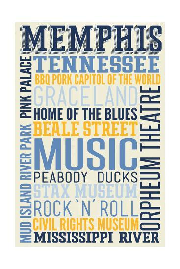 Memphis, Tennessee - Typography-Lantern Press-Art Print