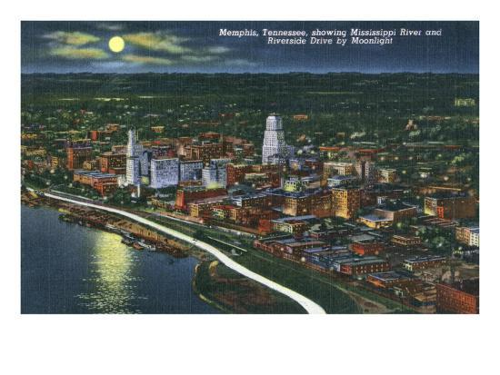 Memphis, TN, Moonlit Aerial View of City with Mississippi River and Riverside Drive-Lantern Press-Art Print