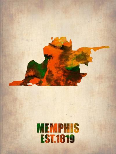 Memphis Watercolor Map-NaxArt-Art Print