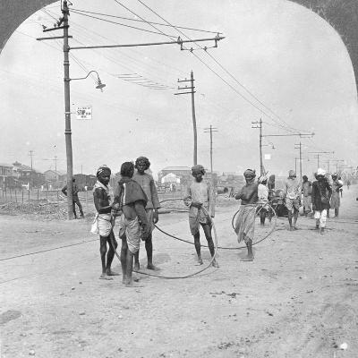 Men About to Draw a Heavy Load, Rangoon, Burma, 1908--Photographic Print