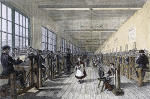 Men and Women at Work in the Patent Renewable Stocking Factory at Tewkesbury England
