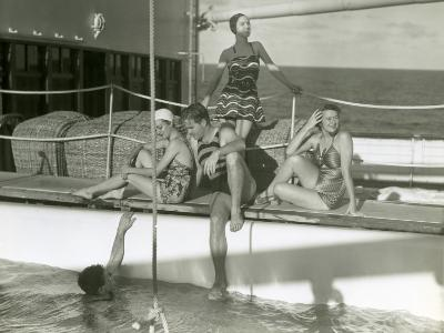 Men and Women By Pool on Cruise Ship-George Marks-Photographic Print