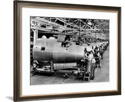 Men Assemble Aircraft at a Chrysler Bomber Plant, 1943--Framed Photo