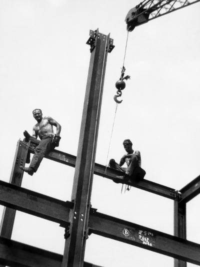 Men at Construction Site-George Marks-Photographic Print