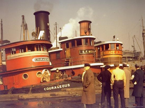 """Men at pier looking at 3 Tugboats, One Named """"Courageous"""" with Crewmen on Deck-Andreas Feininger-Photographic Print"""