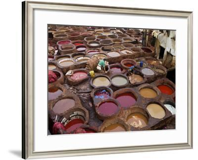 Men at Work in the Tanneries, Medina, Fez, Morocco, North Africa, Africa-Simon Montgomery-Framed Photographic Print