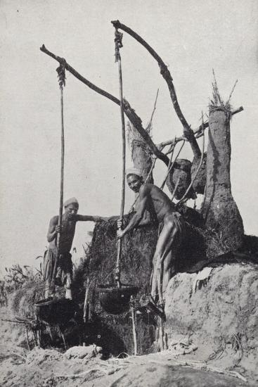 Men Bringing Up Water from the Bottom of a Well--Photographic Print