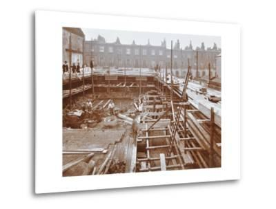 Men Building the Camden Town Sub-Station, London, 1908--Metal Print