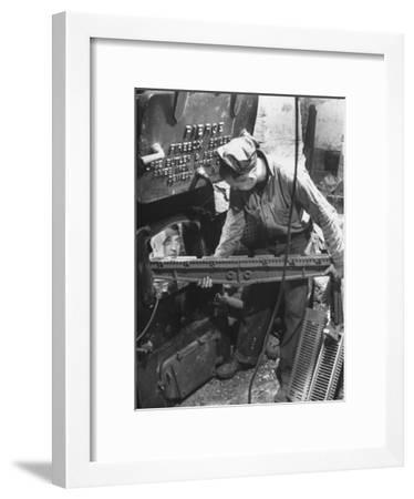 Men Converting Furnaces from Coal to Oil During the Fuel Shortage--Framed Photographic Print