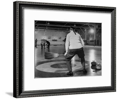 Men Curling with Mops and Brooms-George Skadding-Framed Premium Photographic Print
