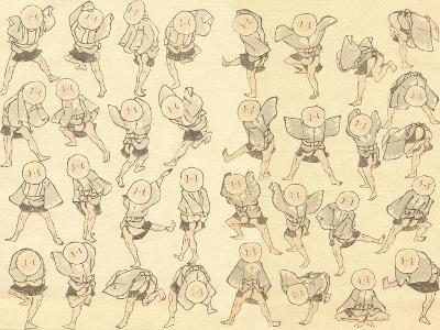 Men Dancing-Katsushika Hokusai-Giclee Print