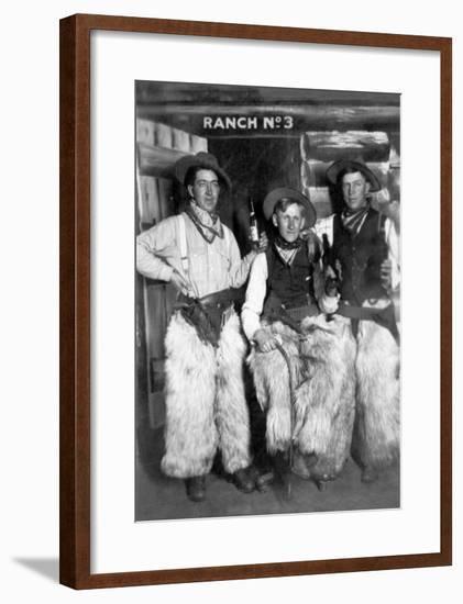 Men Dressed as Cowboys with Bottles of Whiskey-Lantern Press-Framed Art Print