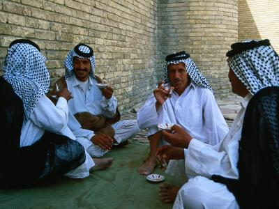 Men Drinking Tea Outside the Holy Shrine of the Imam Ali Ibn Abi Talib, an Najaf, Iraq-Jane Sweeney-Photographic Print