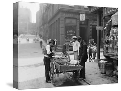 Men Eating Fresh Clams from a Pushcart Peddler in NYC's Italian Quarter