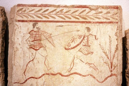 Men fighting with shields, Paestum, c4th century BC-Unknown-Giclee Print