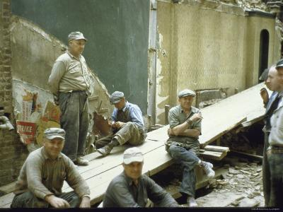 """Men from Demolition Crew on Their Break in Story """"The Wreckers""""-Walker Evans-Photographic Print"""