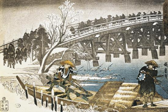 Men in Boat on River with Bridge and Snowy Landscape in Background--Giclee Print