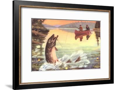 Men in Canoe Hooking Large Fish--Framed Art Print