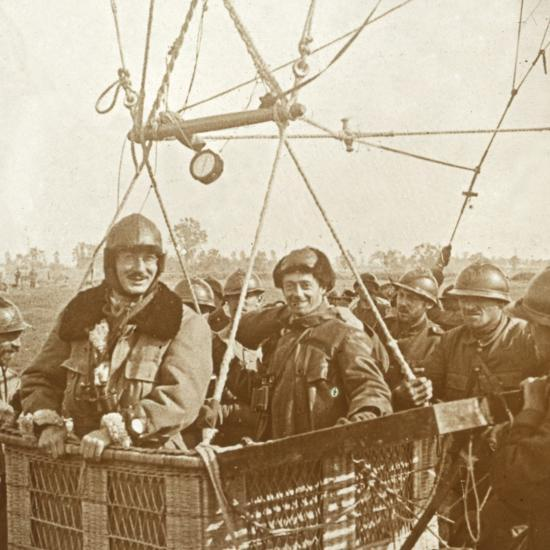 Men in observation balloon basket, c1914-c1918-Unknown-Photographic Print