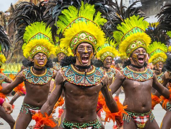 Men in traditional dress at Dinagyang Festival, Iloilo City, Western Visayas, Philippines-Jason Langley-Photographic Print