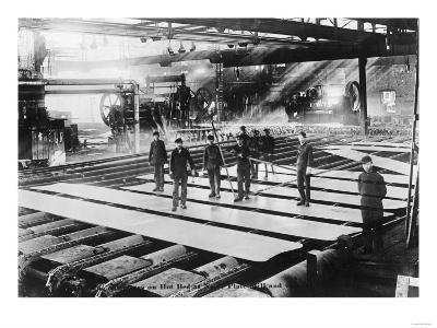 Men Laying out Plates in Steel Mill Photograph-Lantern Press-Art Print