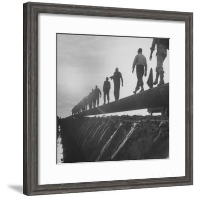 Men Laying Pipeline--Framed Premium Photographic Print