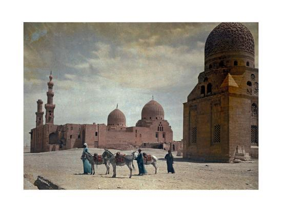 Men Lead Donkeys Past the Tombs of the Caliphs-Hans Hildenbrand-Photographic Print