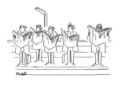 """Men looking angrily at man laughing at """"New  York Times"""". - New Yorker Cartoon-Frank Modell-Premium Giclee Print"""