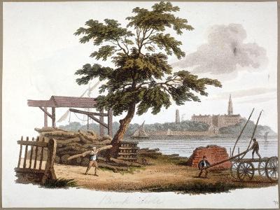 Men Moving Timber at Bankside, Southwark, London, C1810-William Pickett-Giclee Print