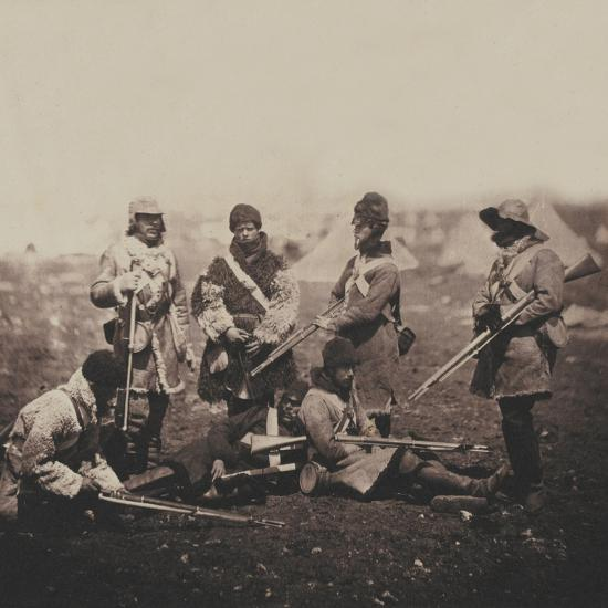 Men of the 68th (Durham) Regiment of Foot (Light Infantry) in Winter Dress, from an Album of 52…-Roger Fenton-Photographic Print