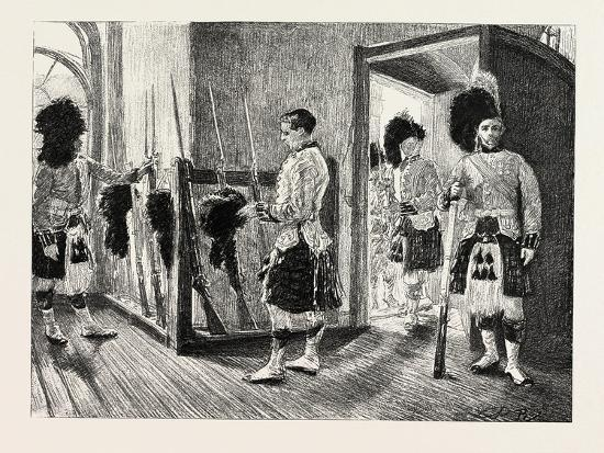 Men Of' the Black Watch in the Guard-Room, Dublin Castle Ireland, 1888--Giclee Print