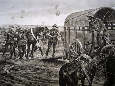 Men of the Mounted Section of the Canadian Veterinary Corps Collecting Wounded Horses in the…-Richard Caton Woodville-Giclee Print