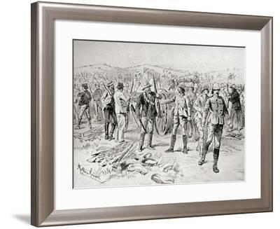 Men of the Royal Irish Rifles and Mounted Infantry Surrendering their Weapons--Framed Giclee Print