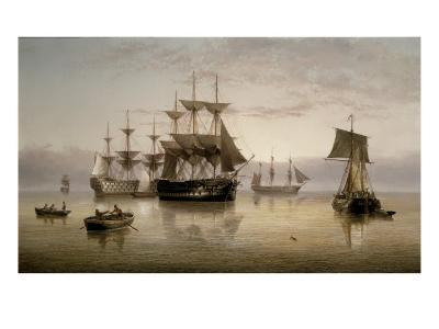 Men-of-War and other Shipping Anchored in a Calm, 1885-Henry Redmore-Giclee Print