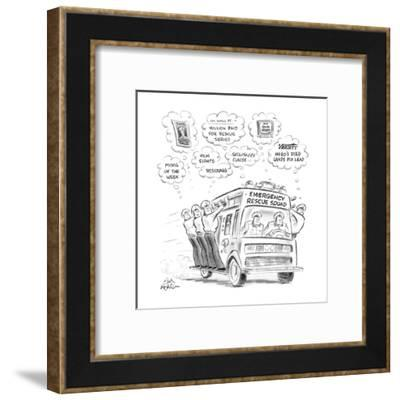 Men on emergency rescue squad all fantasising about money and fame for the? - New Yorker Cartoon-Ed Fisher-Framed Premium Giclee Print