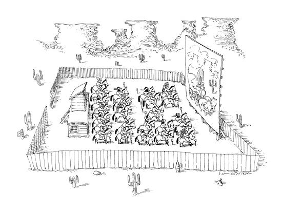 Men on horseback at drive-in movie. - New Yorker Cartoon-John O'brien-Premium Giclee Print