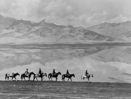 Men on Horseback Riding Along the Shore of Lake Bulun Kul-Maynard Owen Williams-Photographic Print